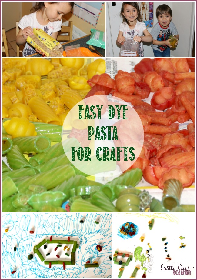 How to dye pasta the easy way for crafts at Castle View Academy homeschool