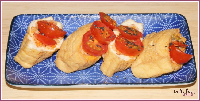 Spicy Carrot and Tomato Inari from Vegetarian Sushi Secrets at Castle View Academy homeschool