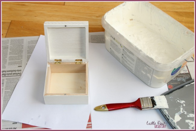 Turning a plain wooden box into something pretty at Castle View Academy homeschool