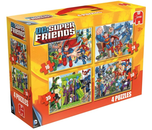 DC Superfriends 4-in-1 Jigsaw Puzzles Set by Jumbo and recomended by Castle View Academy homeschool