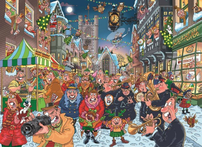 This Christmas Castle View Academy homeschool is putting together a Wasgij puzzle, The Big Turn On!