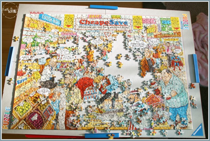 Best of British Supermarket puzzle in progress on Ravensburger's Puzzle Handy is a great combination at Castle View Academy homeschool