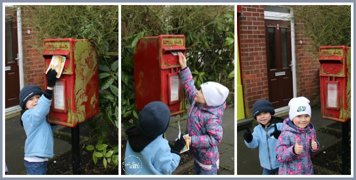 Putting Post Pal Club post cards in the post box at Castle View Academy homeschool