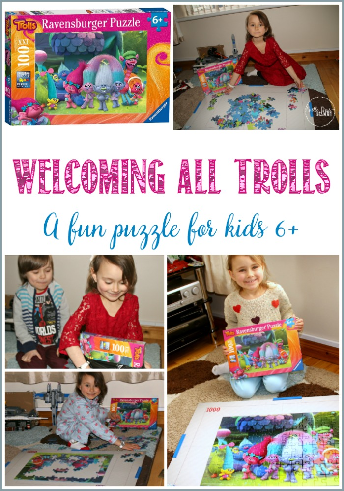 Ravensburger Trolls jigsaw puzzle is lots of fun for kids at Castle View Academy homeschool