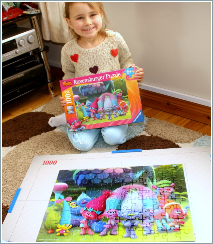 The Ravensburger Trolls Puzzle is completed at Castle View Academy homeschool
