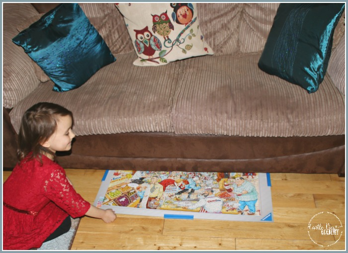 Using the Puzzle Handy to store our puzzle under the low sofa works great at Castle View Academy homeschool