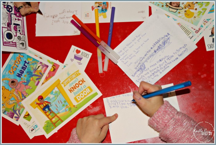 Writing a postcard to Grandma and Grandpa is a good way to learn at Castle View Academy homeschool