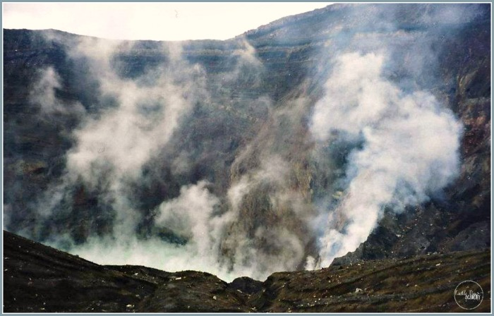 A is For Aso-San, Japan, Looking down into the steaming caldera with Castle View Academy homeschool