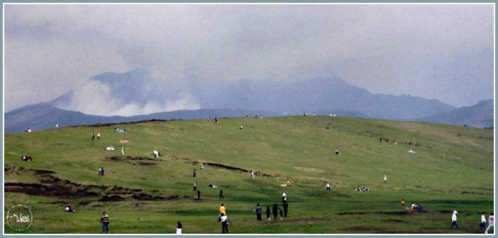 Aso-San volcano in Kyushu, Japan in 2002 with Castle View Academy homeschool, A-Z of Japan