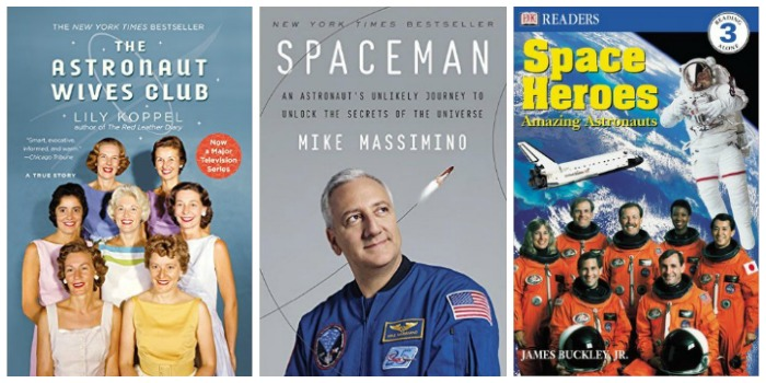 Books about astronauts at Castle View Academy homeschool