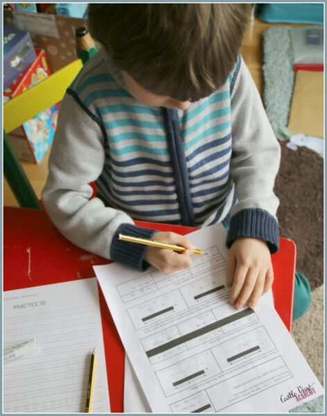 Homeschool math in progress at Castle View Academy homeschool
