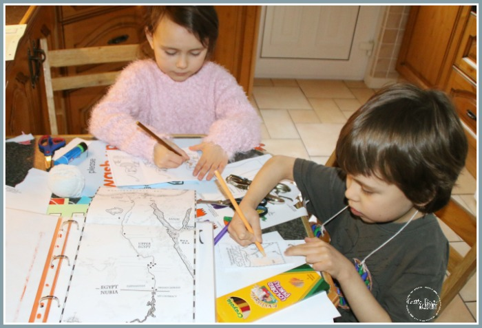 Working on a map of Ancient Egypt at Castle View Academy homeschool