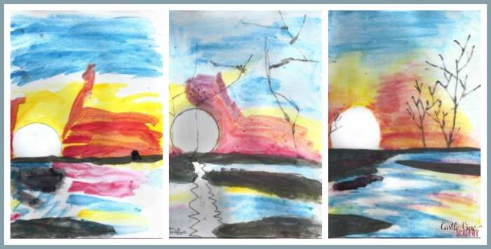 African Sunset in Watercolour by Castle View Academy homeschool