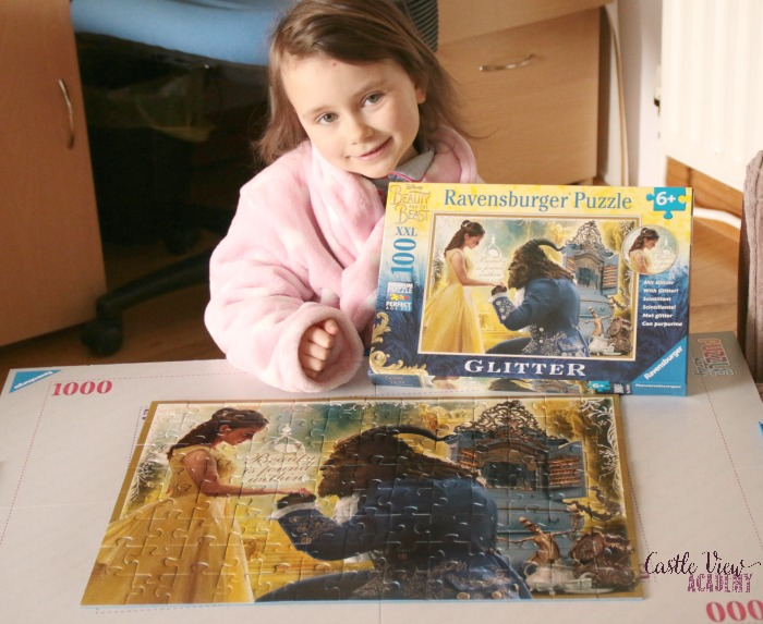 Beauty and The Beast Puzzle is completed at Castle View Academy homeschool