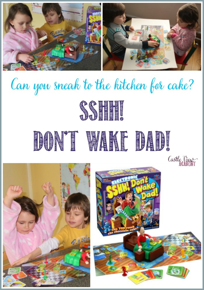 Castle View Academy homeschool has some fun playing Sshh! Don't Wake Dad!