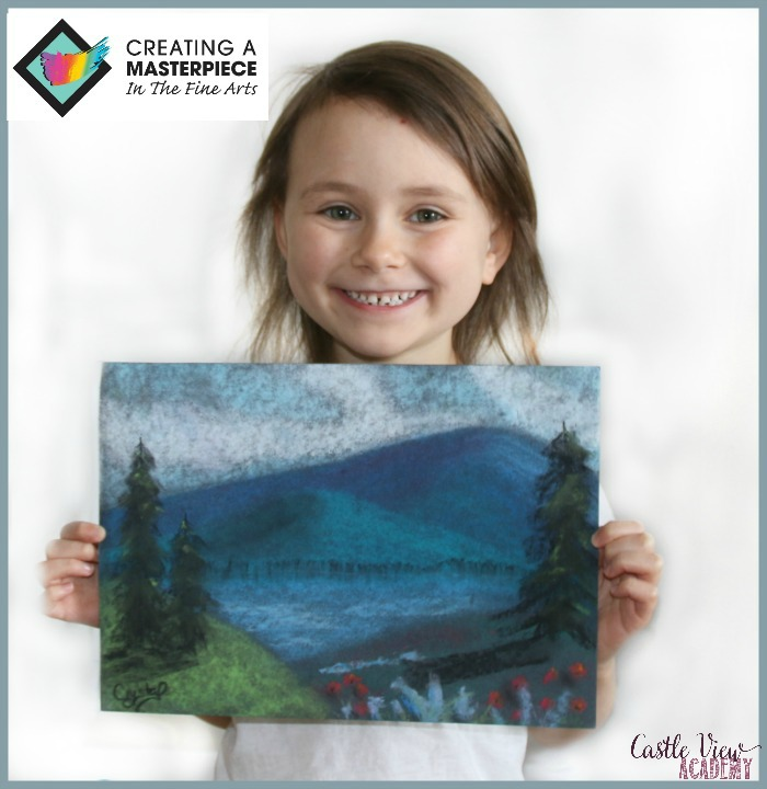 Creatiing a Masterpiece is easy for a 6 yaer old at Castle View Academy homeschool