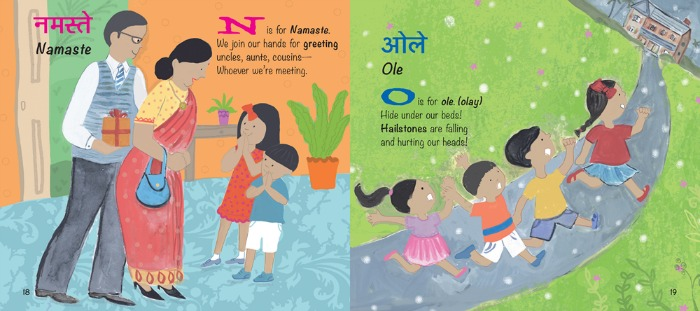 N is for Namaste in My First Book of Hindi Words by Tuttle Publishing