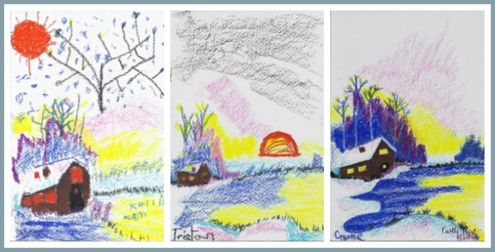 Winter Cabin in oil pastel by Castle View Academy homeschool