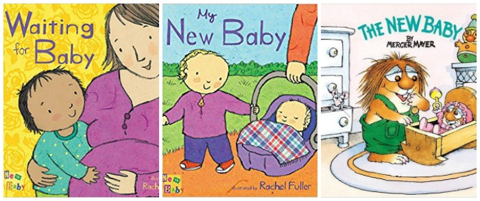 Books about a new baby in the house at Castle View Academy homeschool