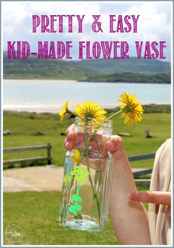Pretty Kid-Made Easy Flower Vase at Castle View Academy homeschool, perfect for camping!