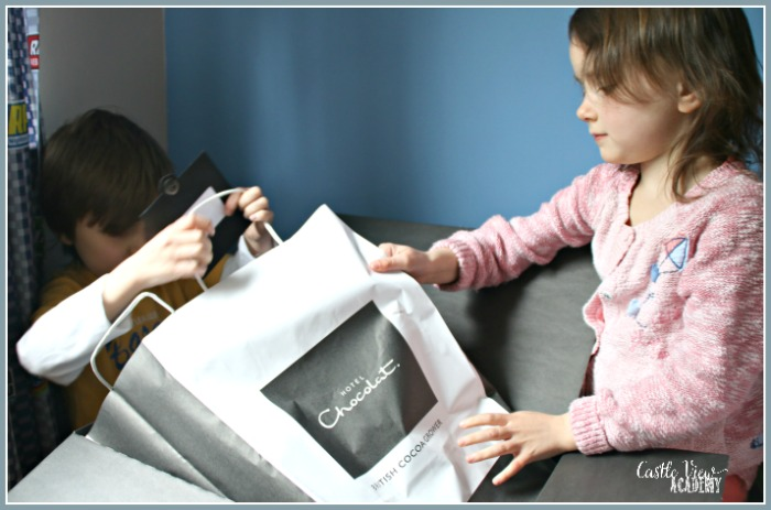 What's in that Hotel Chocolat bag, asks Castle View Academy homeschool