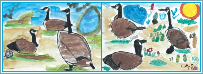 Castle View Academy homeschool learns to draw Canada Geese with ArtAchieve