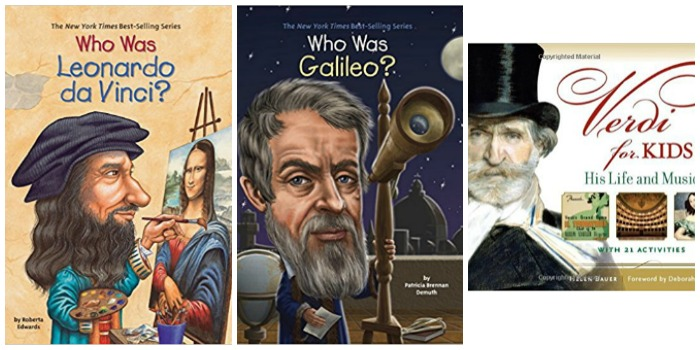 Famous Italians, books for kids at Castle View Academy homeschool