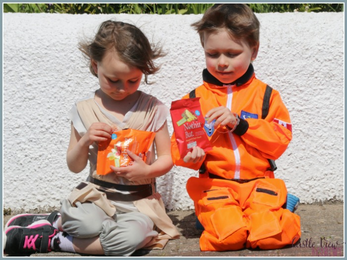Freeze-dried astronaut snacks in the April Degustabox, enjoyed by the kids of Castle View Academy homeschool