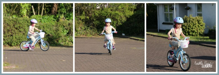 Learning to ride a bike at Castle View Academy homeschool