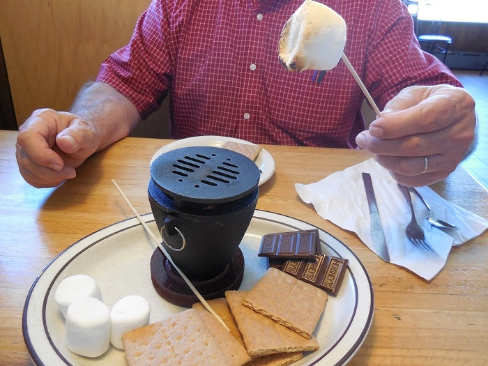 indoor-smores-at-the-Blue-Water-in-Grand-Marais-MN, , The Wise Owl Factory writes for Castle View Academy homeschool