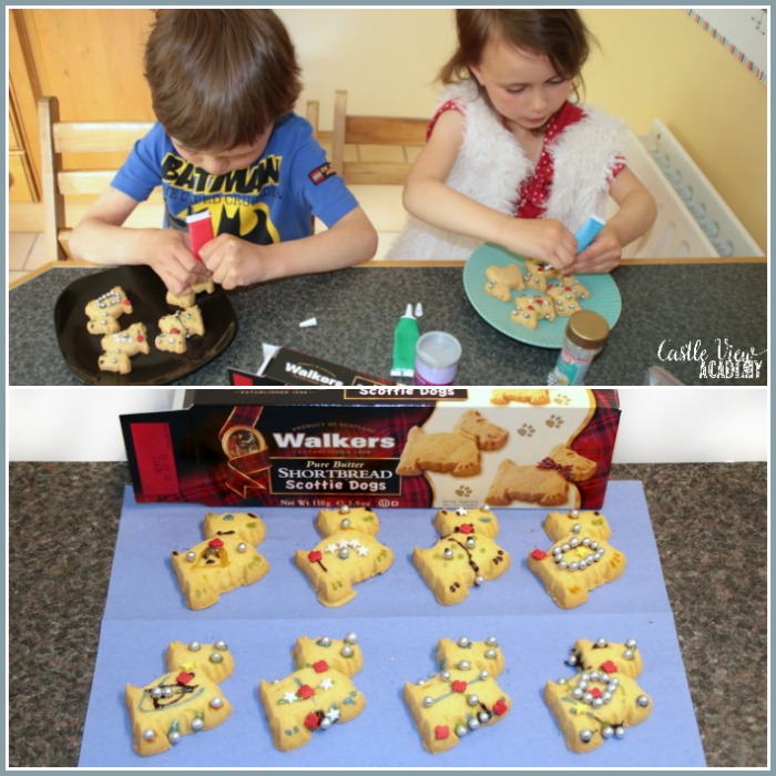 Decorating Walkers Shortbread at Castle View Academy homeschool, thanks to Degustabox