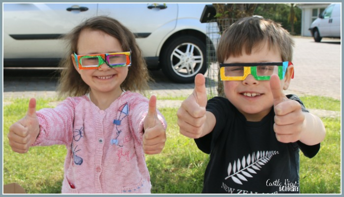 Rainbow glasses at Castle View Academy homeschool