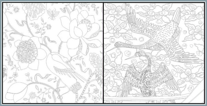 Sample pages from a Touch of Asia coloring book at Castle View Academy homeschool