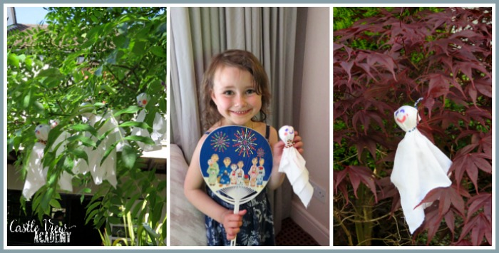 Teru Teru Bozu dolls to wish for sun with Castle View Academy homeschool