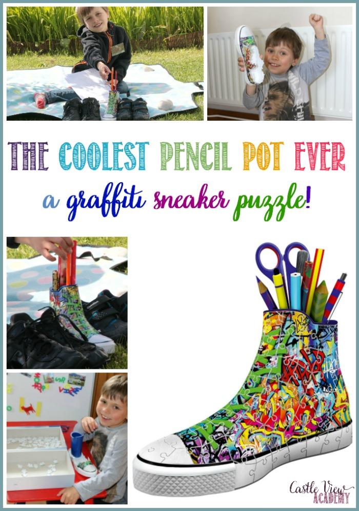 The Coolest Pencil Pot Ever - a Graffiti Sneaker! Castle View Academy homeschool