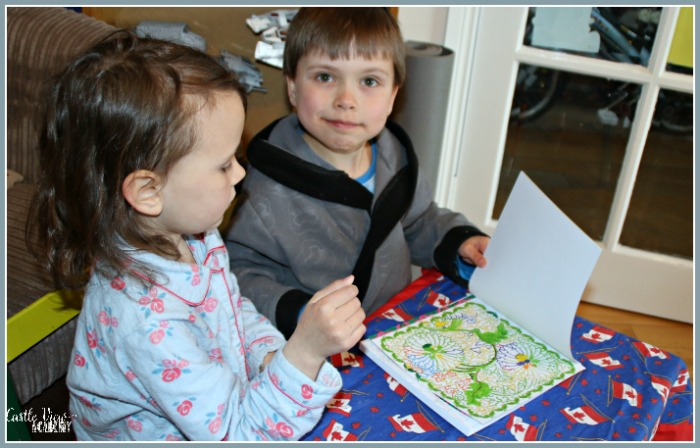 Tucking a surprise into a gift for Nana at Castle View Academy homeschool
