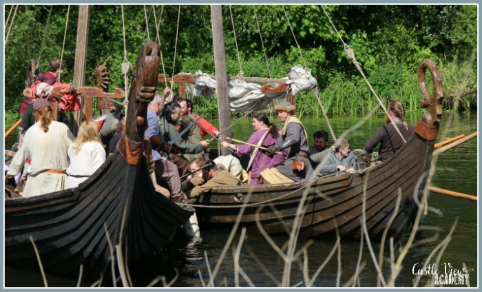 Viking Longboat fighting in Portadown with Castle View Academy homeschool