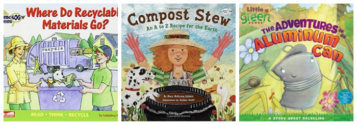 Books about recycling at Castle View Academy homeschool