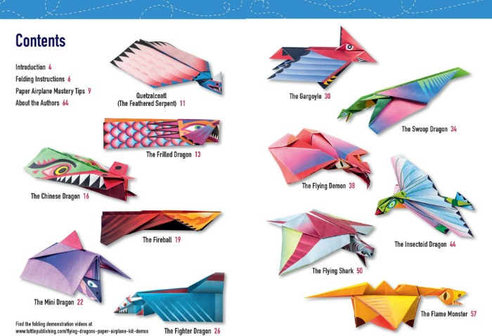 Contents of Flying Dragons paper airplanes by Tuttle Publishing