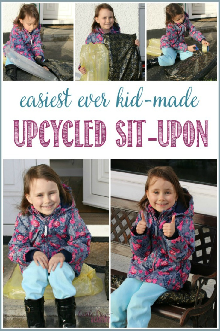 The Easiest Ever, Kid-Made, Upcycled Sit-Upon The next time you want to spend time outdoors around the fire pit, working in the garden, or camping,  all you need is 3 minutes to make an upcycled sit-upon