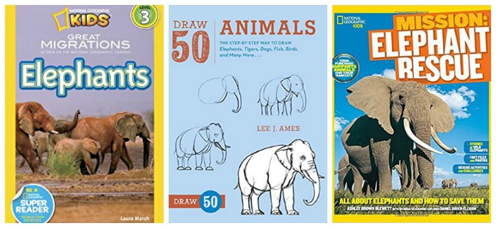 Non fiction elephant books for kids at Castle View Academy homeschool