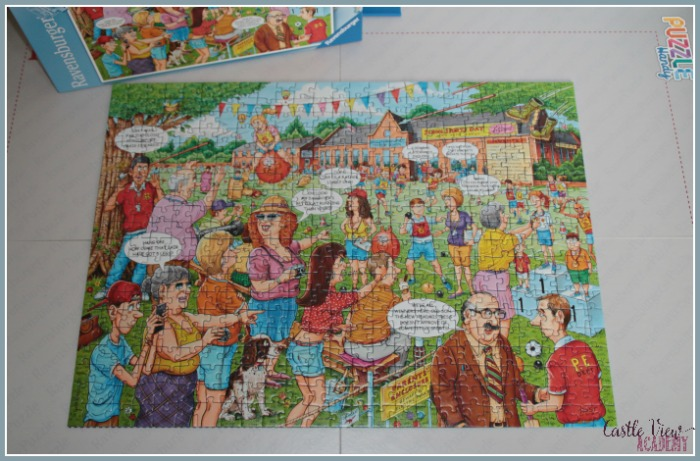 Ravensburger School Sports Day puzzlei is complete at Castle View Academy homeschool