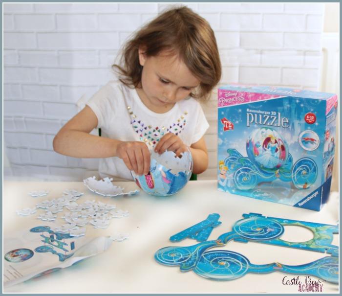 3D Cinderella puzzle in progress at Castle View Academy homeschool