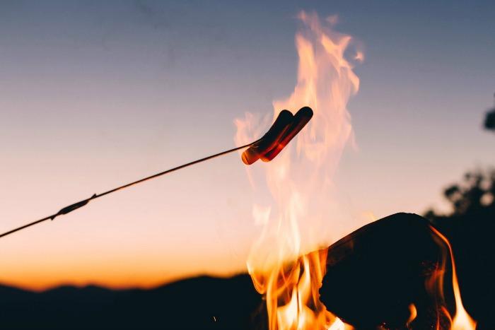 Autumn activities roastin on a bonfire