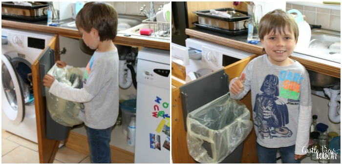 Changing the kitchen bin successfully