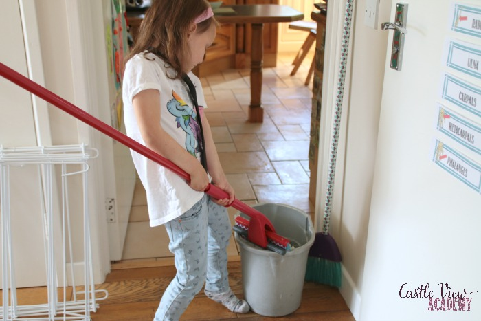 Chore time at Castle View Academy homeschool