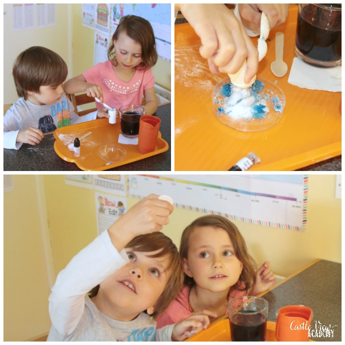 Disapearing water science trick at Castle View Academy homeschool