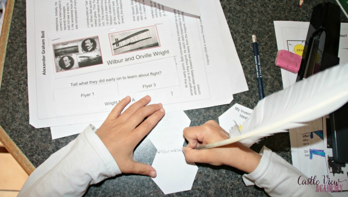 Wright Brothers in a Lapbook at Castle View Academy