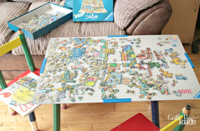Castle View Academy works on Ravensburger's Ludicrous Lighthouse shaped puzzle
