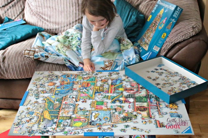 Family puzzle time at Castle View Academy homeschool